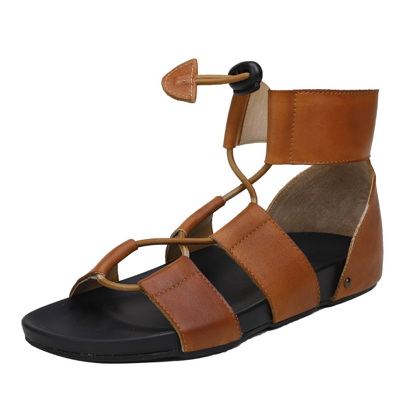 Retro Ladies Open-Toe Leather Sandals
