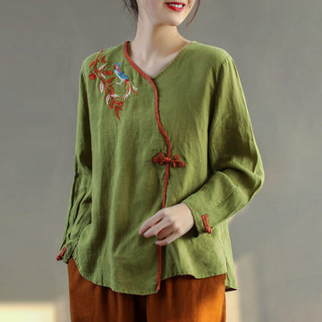 Retro Leaf Embroidery Split Hem Linen Shirt