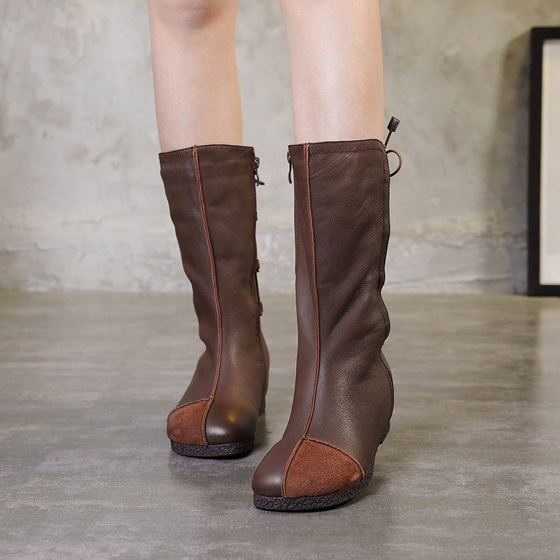 Retro Leather Stitching Flat Mid-Calf Boots