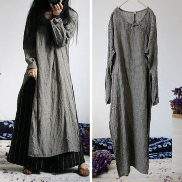 Retro Long Sleeves Plaid Linen Dress