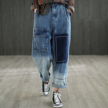 Retro Loose Denim Color Spliced Patchwork Distressed Jeans