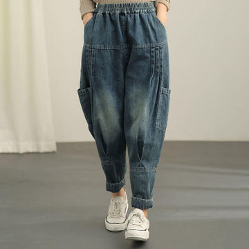 Retro Loose Elastic Waist Casual Distressed Jeans