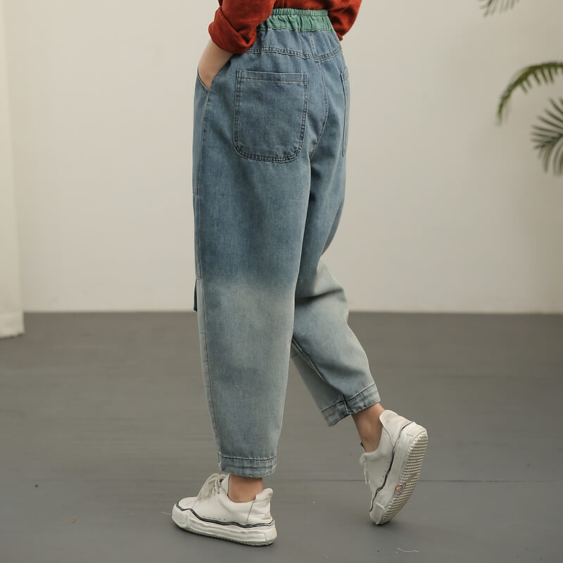 Retro Loose Elastic Waist Color Stitching Distressed Jeans
