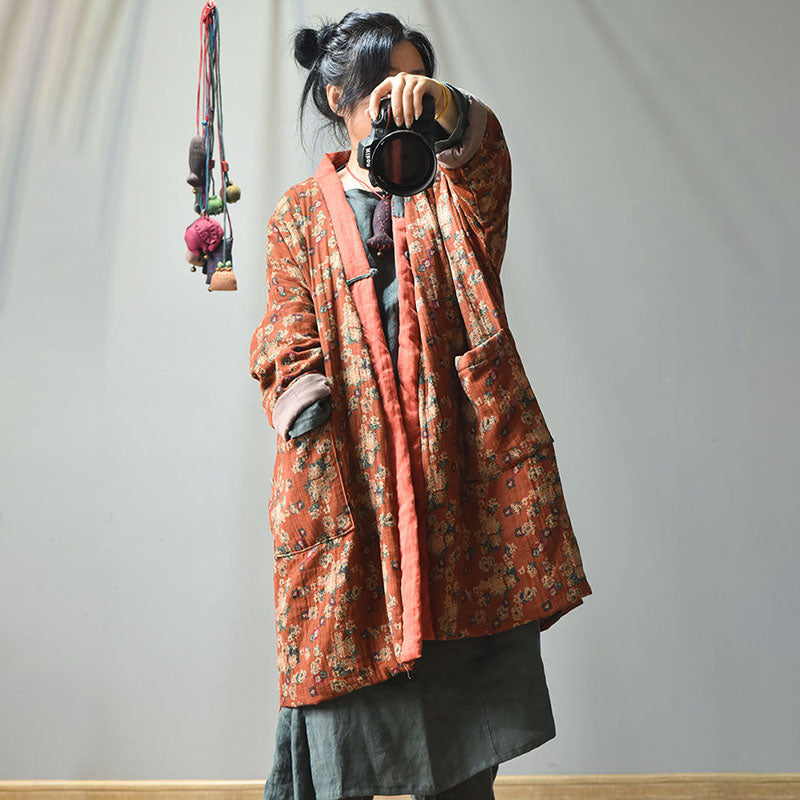 PLUS Size - Retro Loose Warm Floral Pocket Coat