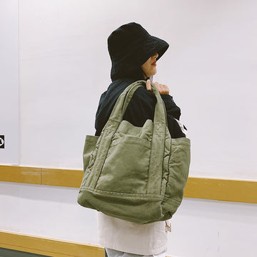 Retro Magnetic Buckle Shoulder Canvas Bag