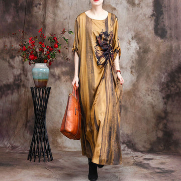 Retro O-Neck Casual Loose Floral Long Dress