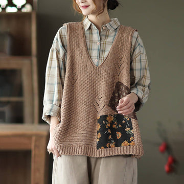 Retro Patchwork Knitted V-neck Vest