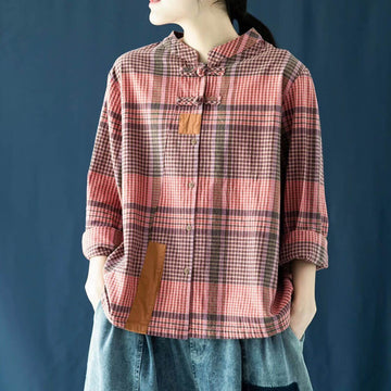 Retro Plaid Patchwork Casual Loose Shirt