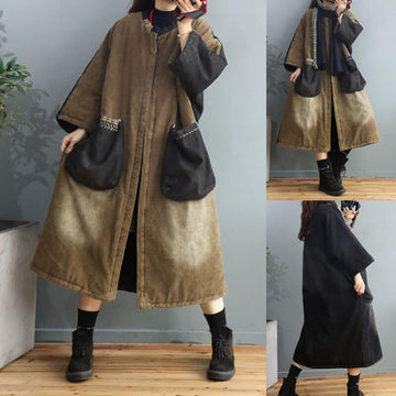 Retro Pocket Color Stitching Corduroy Overcoat