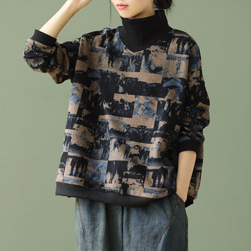 Retro Print Casual Turtleneck Stitching Sweatshirt