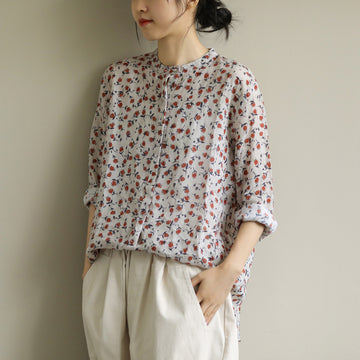 Retro Print Single Breasted 100% Linen Shirt