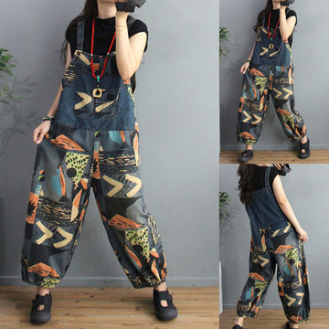 Retro Prints Cotton Denim Loose Jumpsuit