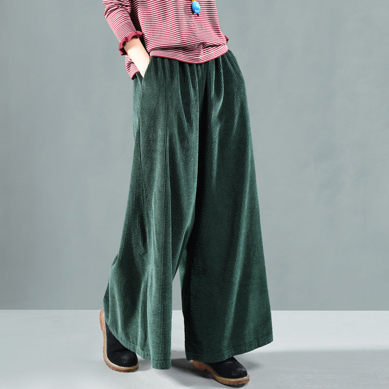 Plus Size - Retro Pure Color Autumn Corduroy Pants
