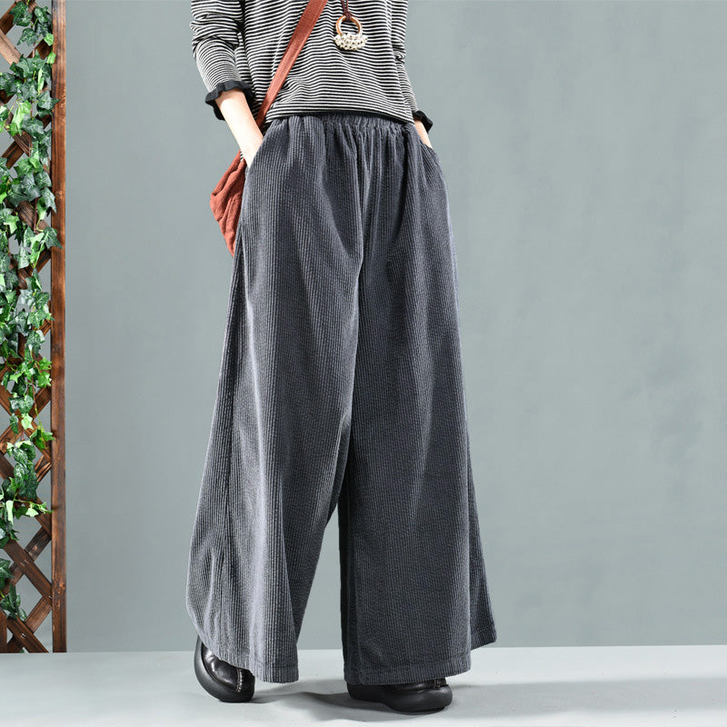 Retro Pure Color Autumn Corduroy Pants