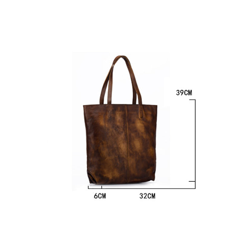 Retro Pure Color Large Capacity Leather Tote Bag
