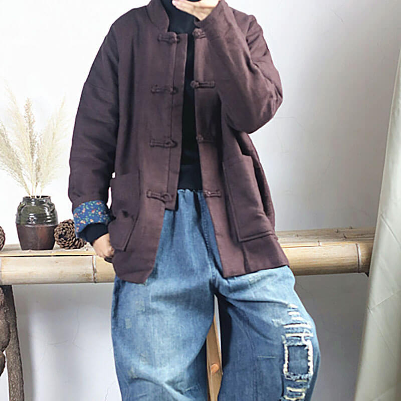 Retro Pure Color Single Breasted Pocket Coat