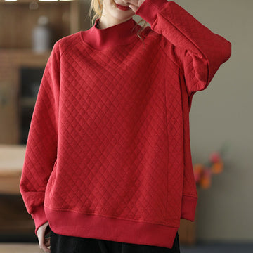 Retro Pure Color Winter Women Sweatshirt