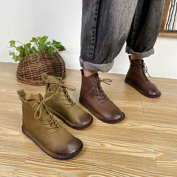 Retro Round-toe Lacing Casual Leather Boots