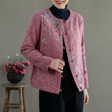 Retro Single Breasted Flower Embroidered Coat