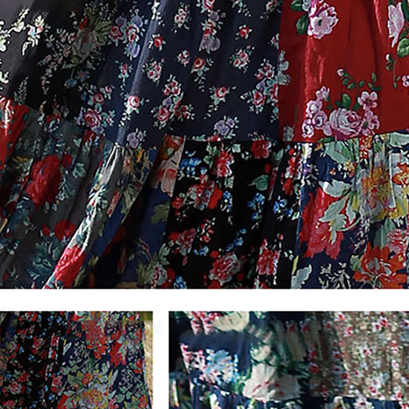 Retro Splicing Cloth Flower Printed Skirt