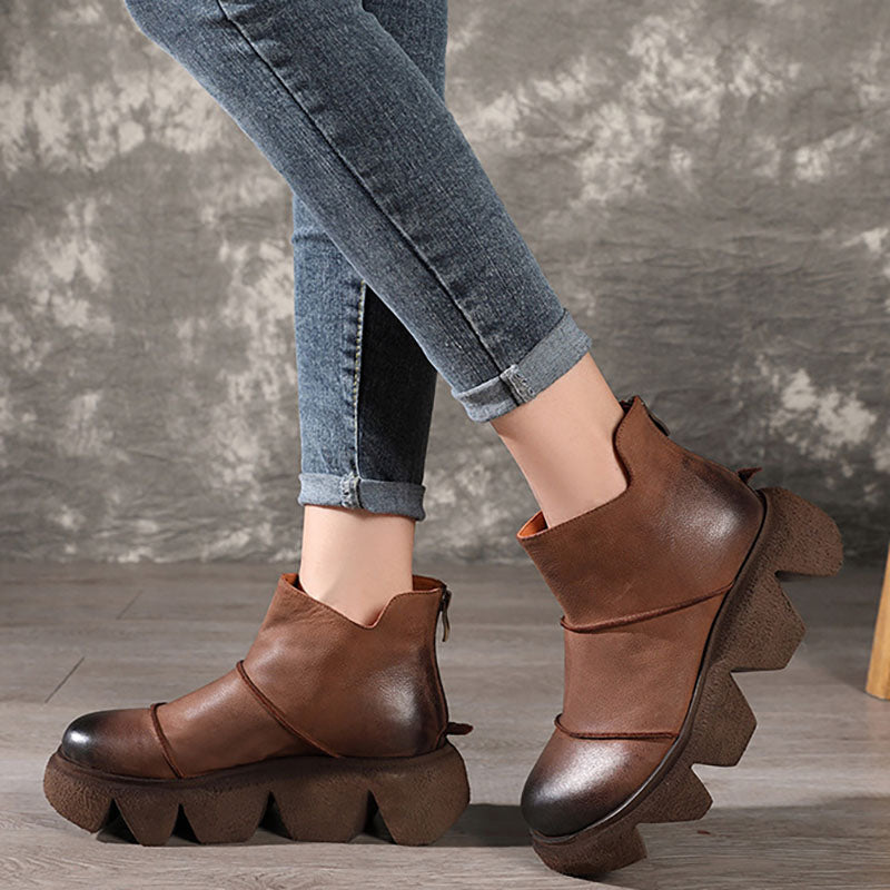 Retro Stitching Leather Platform Heel Boots