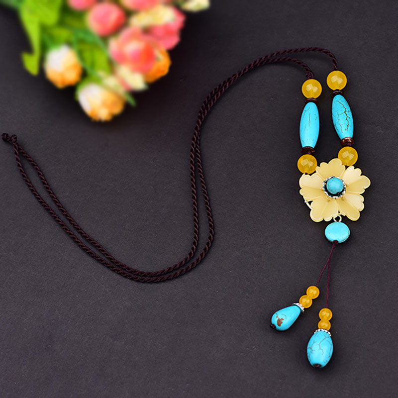 Retro Turquoise Flower Dangle Sweater Necklace