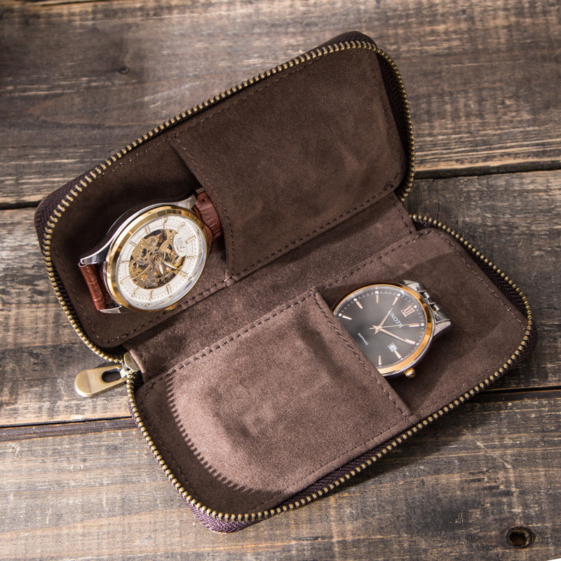 Retro Two Slots Leather Watch Storage Bag