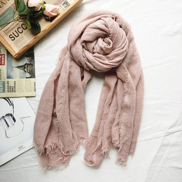 Retro Unisex Solid Color Tassel Scarf