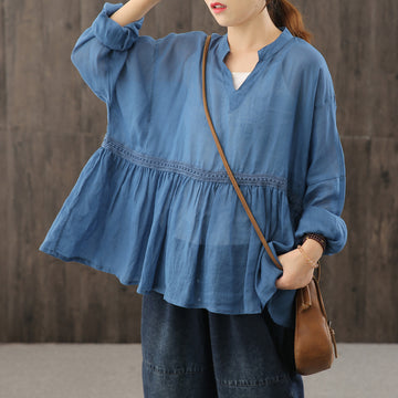 Retro V-neck Pure Color Draped Blouse