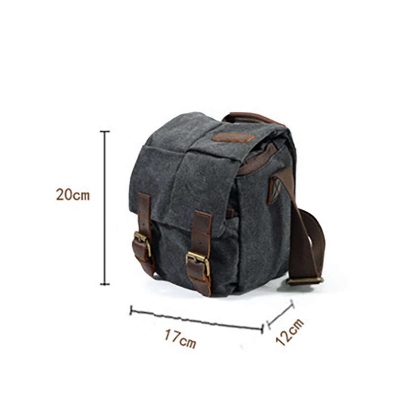 Retro Waterproof Canvas Leather SLR Camera Bag