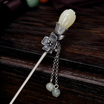 Retro White Orchid Flower Silver Hairpin