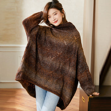 Retro Winter Batwing Turtleneck Sweater