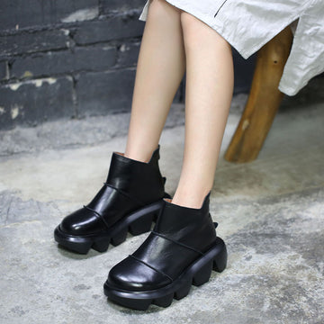 Retro Winter Leather Platform Heel Boots