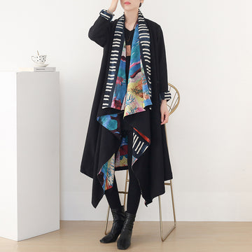 Retro Winter Patchwork Wool Overcoat