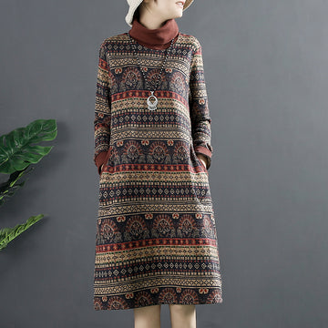 Retro Winter Warm Turtleneck Pocket Dress