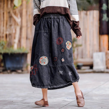Retro Women Embroidery Pocket Denim Skirt