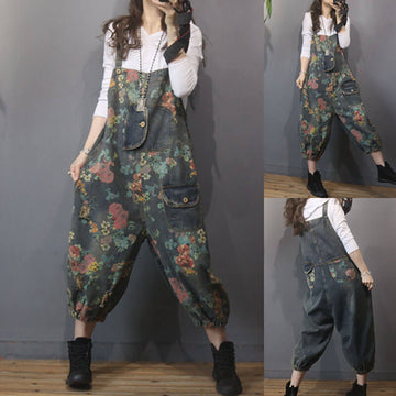 Retro Women Floral Pocket Denim Overalls