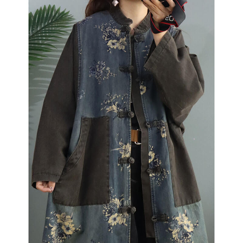 Retro Women Floral Pocket Denim Overcoat