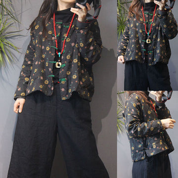 Retro Women Floral Single Breasted Coat