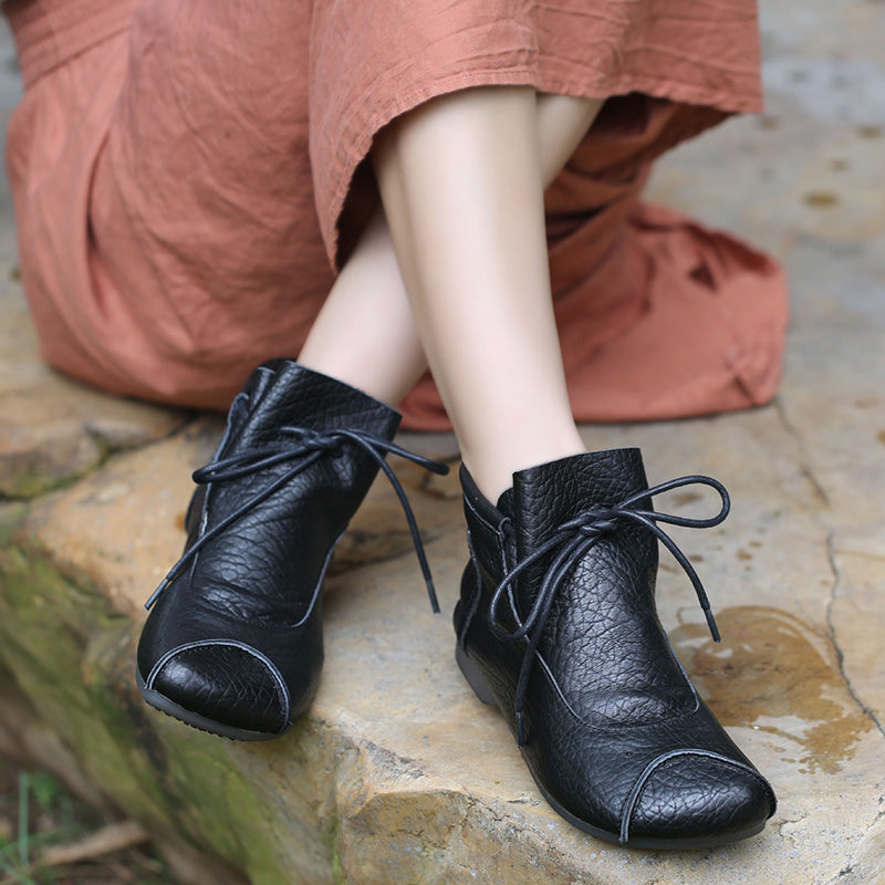 Retro Women Lacing Leather Shoes