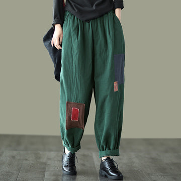 Retro Women Patchwork Thick Cotton Pants
