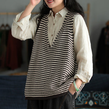 Retro Women Striped Knitted V-neck Blouse