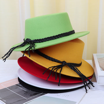 Retro Women Woven Strap Lacing Hat
