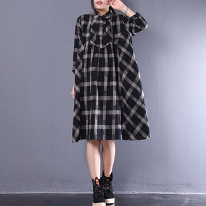 Retro A-line Loose Plaid Black Long Sleeve Dress
