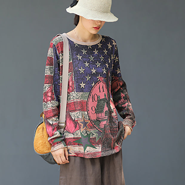 Retro Autumn Printed Knitted Cotton Shirt