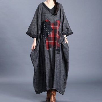 Retro Bat Sleeve Patchwork Loose Dress