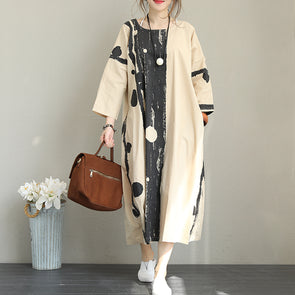 Retro Beige Long Sleeve Dress Dots Print