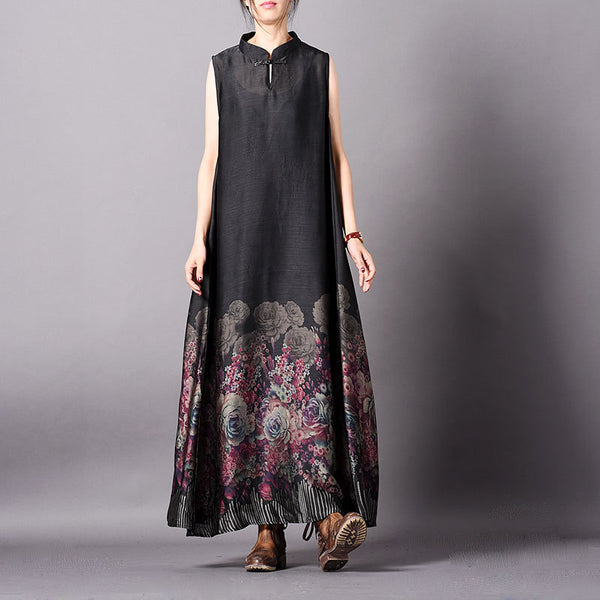 79ab3ddd22 Retro Black Flower Print Sleeveless Dress