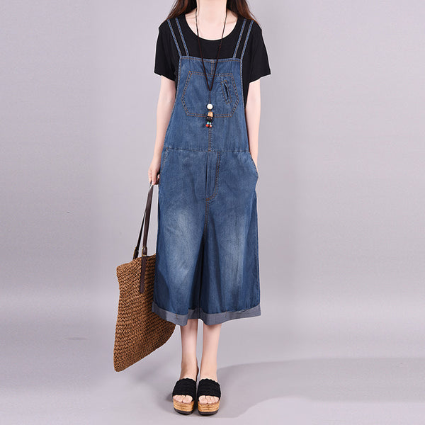 Retro Bleached Denim Wide Leg Overalls