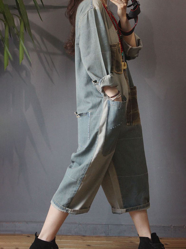 Retro Camouflage Patchwork Loose Denim Rompers